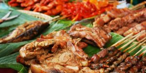 barbecued pork, fish, and other meats