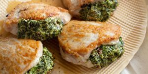 Baked spinach stuffed chicken breasts