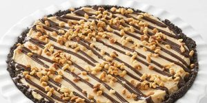 Mocha cream pie with nuts on top