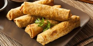 Freshly cooked spring rolls