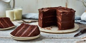 Sliced chocolate cake with chocolate mousse filling