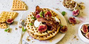 Buttermilk waffles with honey roasted figs, bacon and goat's cheese