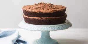 2 layer chocolate cake with chocolate filling